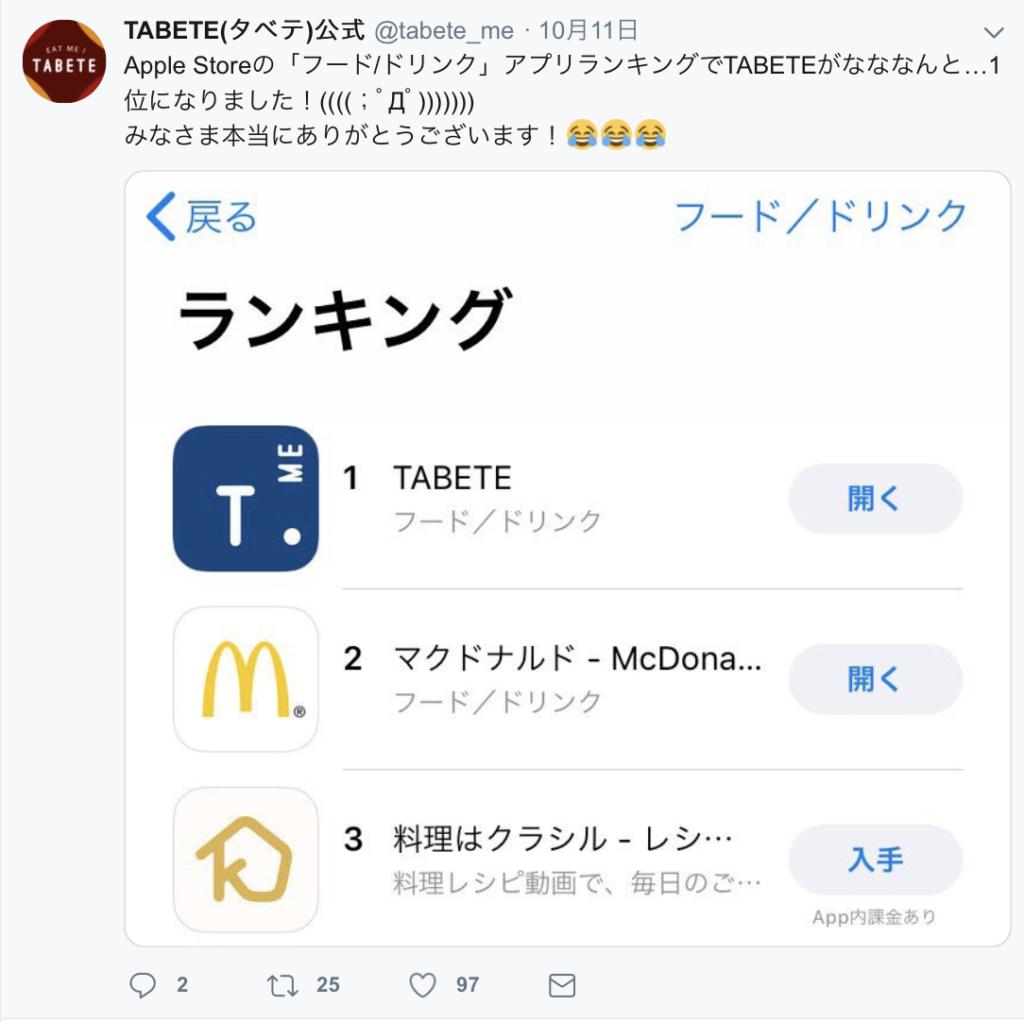 TABETE 公式Twitter Apple Store1位