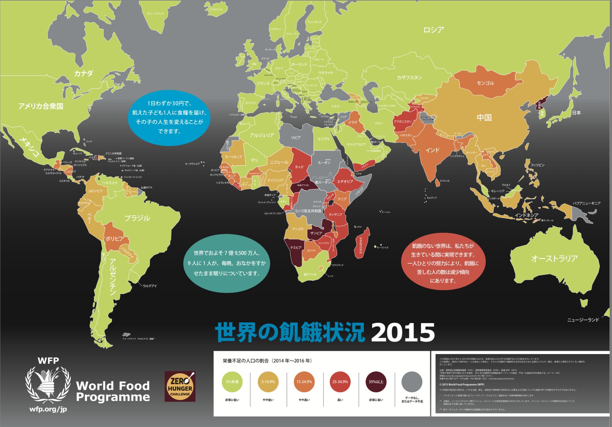 世界の飢餓状況2015年版