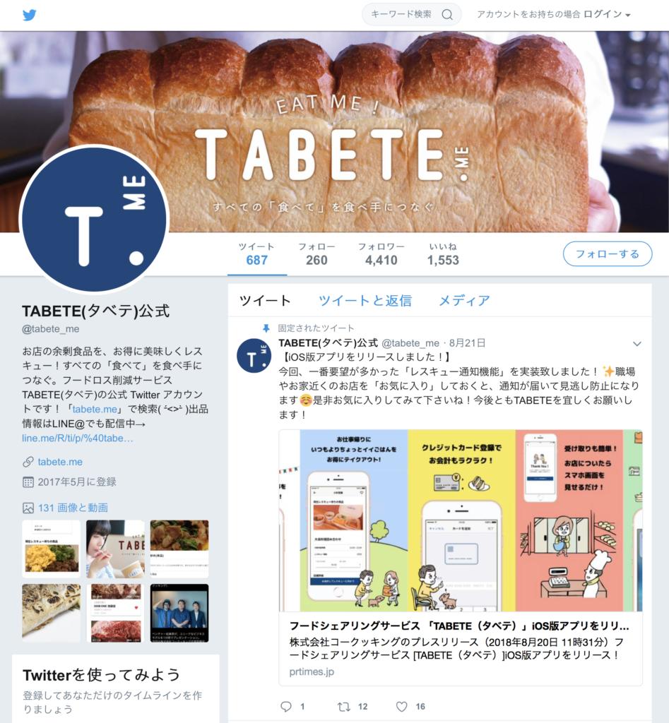 TABETE Twitter