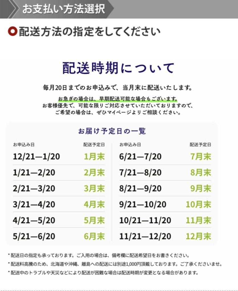 saketaku 配送時期