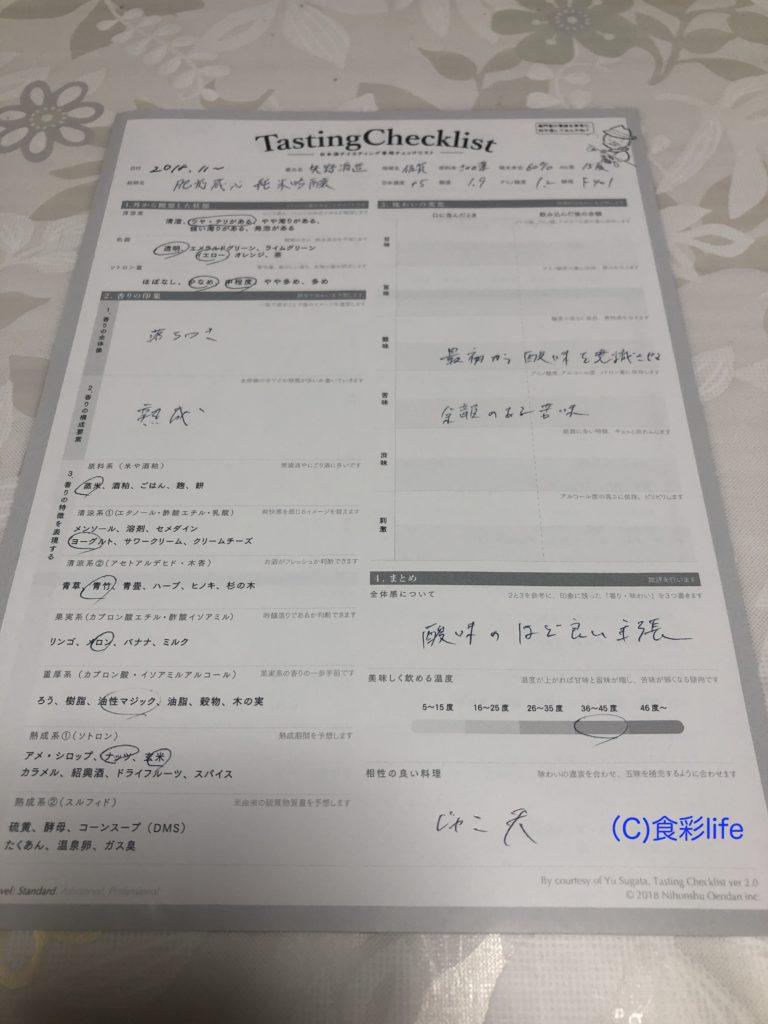 利き酒シート saketaku 備前蔵心 特別純米