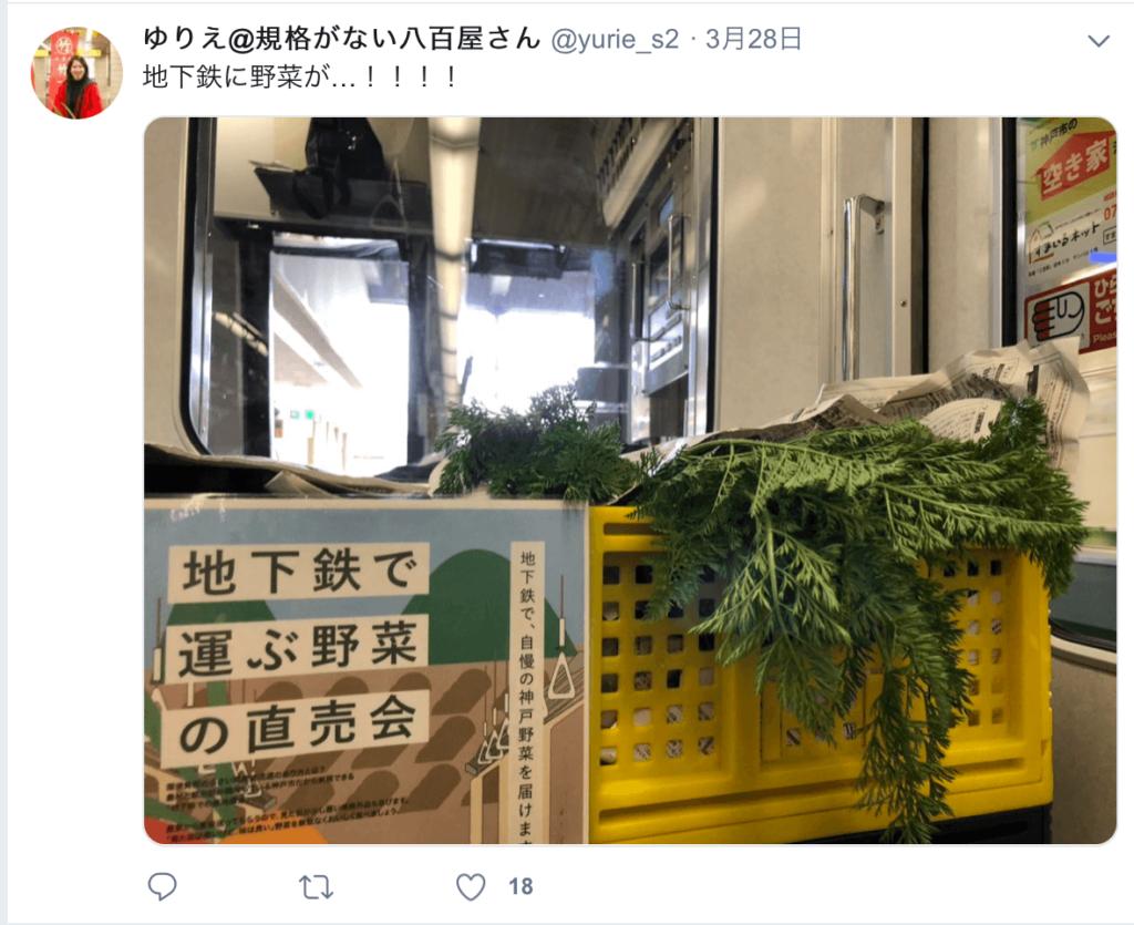 地下鉄で運ぶ野菜の直売会 twitter