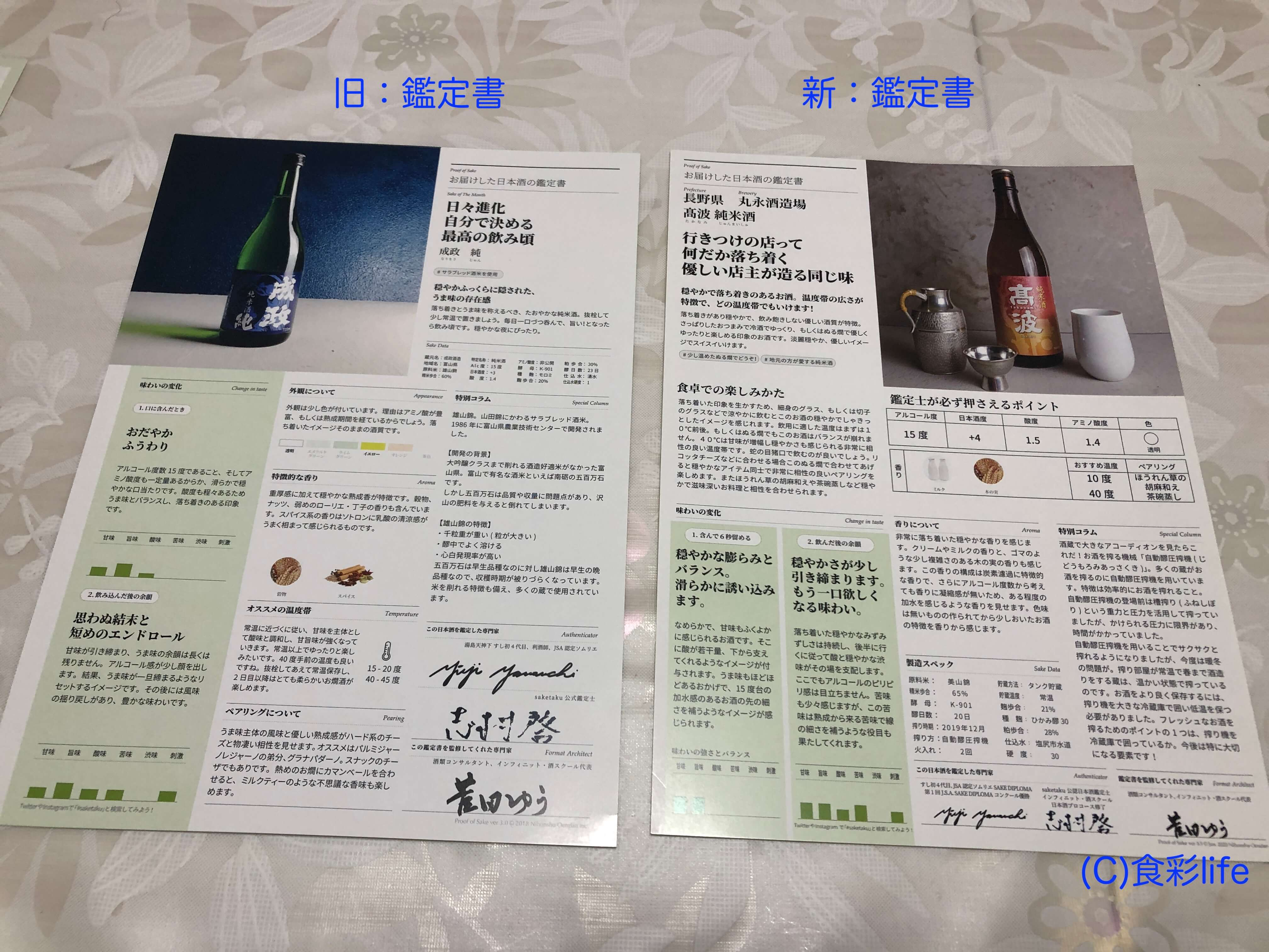 saketaku 鑑定書 旧・新比較