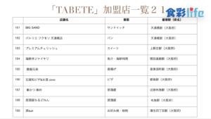 「TABETE」(2020.3.18) 加盟店一覧21