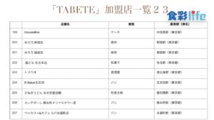 「TABETE」(2020.3.18) 加盟店一覧23