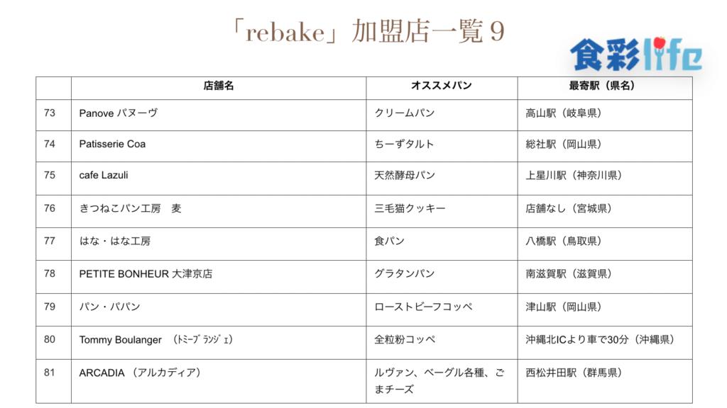「rebake」(2020.3.18) 加盟店一覧9