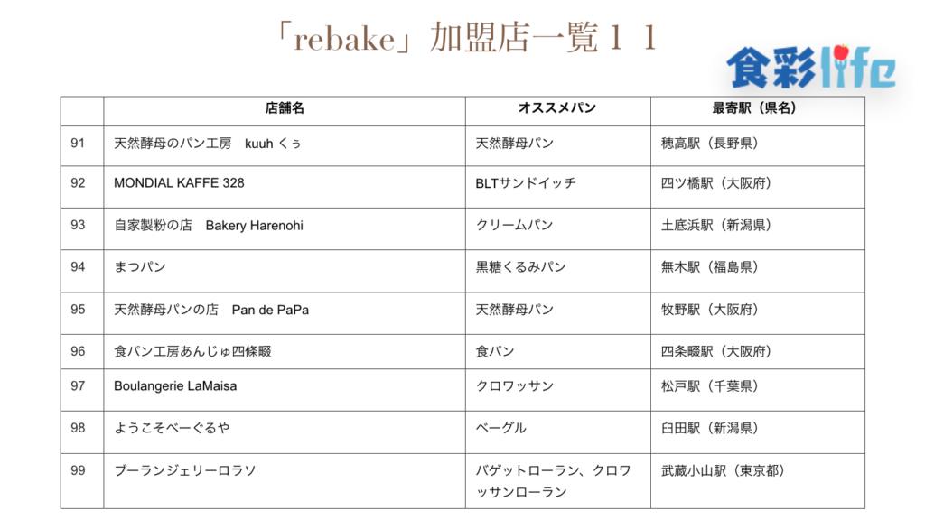 「rebake」(2020.3.18) 加盟店一覧11