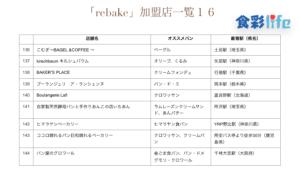 「rebake」(2020.3.18) 加盟店一覧16