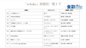 「rebake」(2020.3.18) 加盟店一覧17