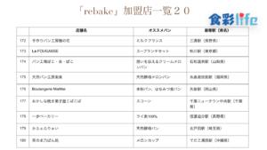 「rebake」(2020.3.18) 加盟店一覧20
