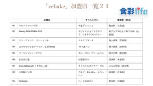 「rebake」(2020.3.18) 加盟店一覧21