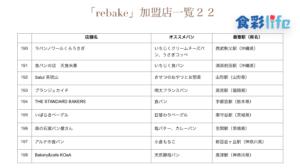 「rebake」(2020.3.18) 加盟店一覧22