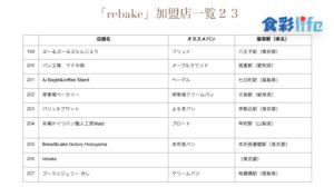 「rebake」(2020.3.18) 加盟店一覧23